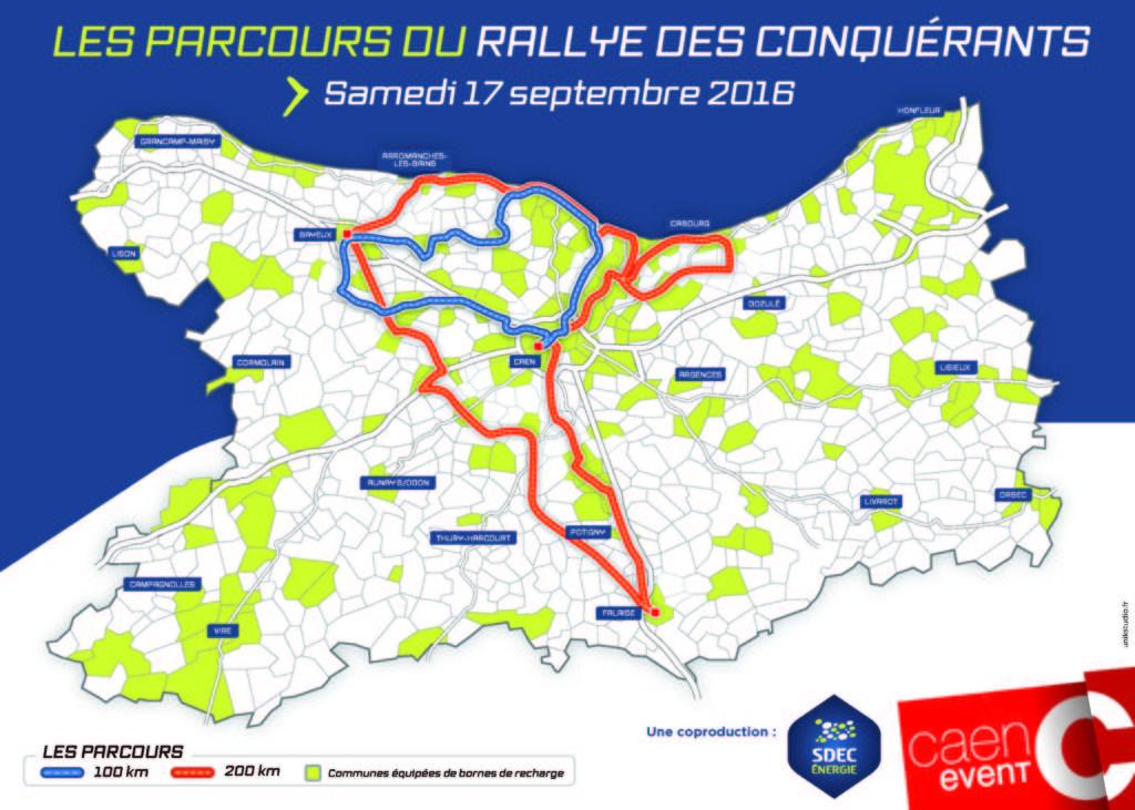 Carte du parcours du Rallye des Conquérants - Samedi 17 septembre 2016